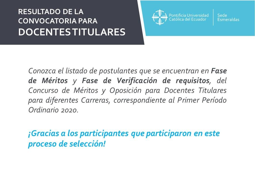 LISTADO DE POSTULANTES A DOCENTES TITULARES I-S 2020