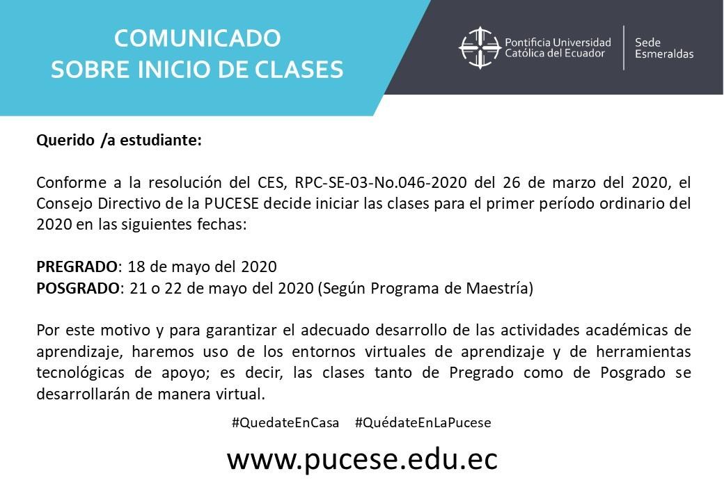 LA PUCESE INICIARÁ CLASES EL 18 DE MAYO