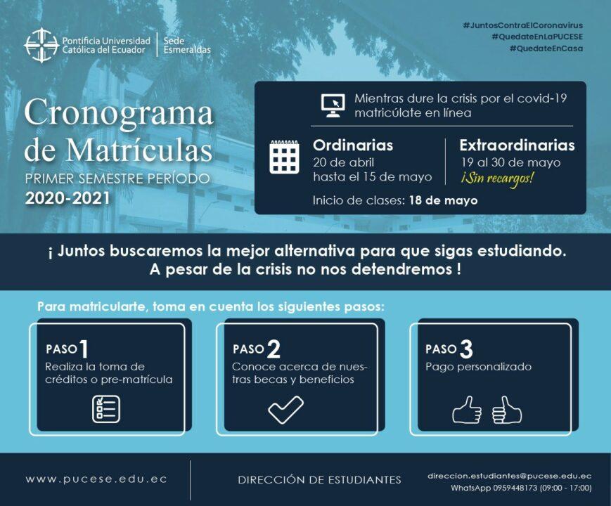 LA PUCESE ANUNCIA CRONOGRAMA DE MATRÍCULAS PARA I S 2020