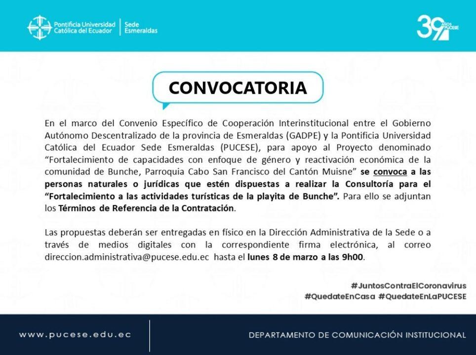 Convocatoria Consultoría para Proyecto en Bunche